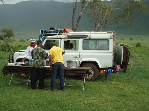 Picknick im Ngorongoro Krater