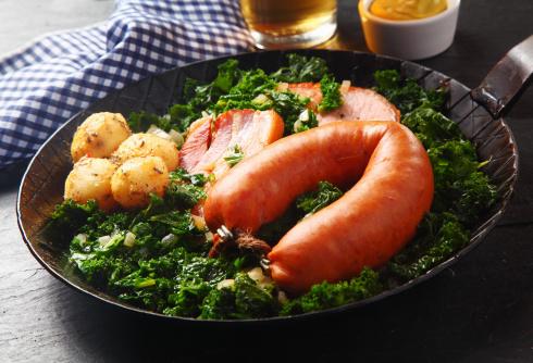German Sausage, Pork and Potatoes on Veggies Top