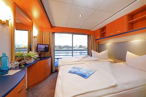 Kabine 201 Panoramadeck MS Sans Souci nach Renovierung (mit Spots) Bett getrennt