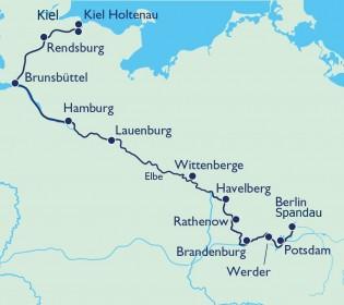 Auf dem Wasserweg von Kiel auf dem NOK, der Elbe und Havel nach Berlin