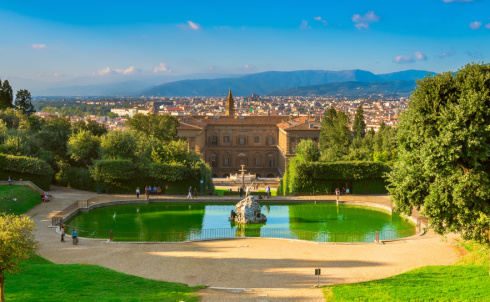View of the Palazzo Pitti and italian style Boboli gardens in Florence, Italy